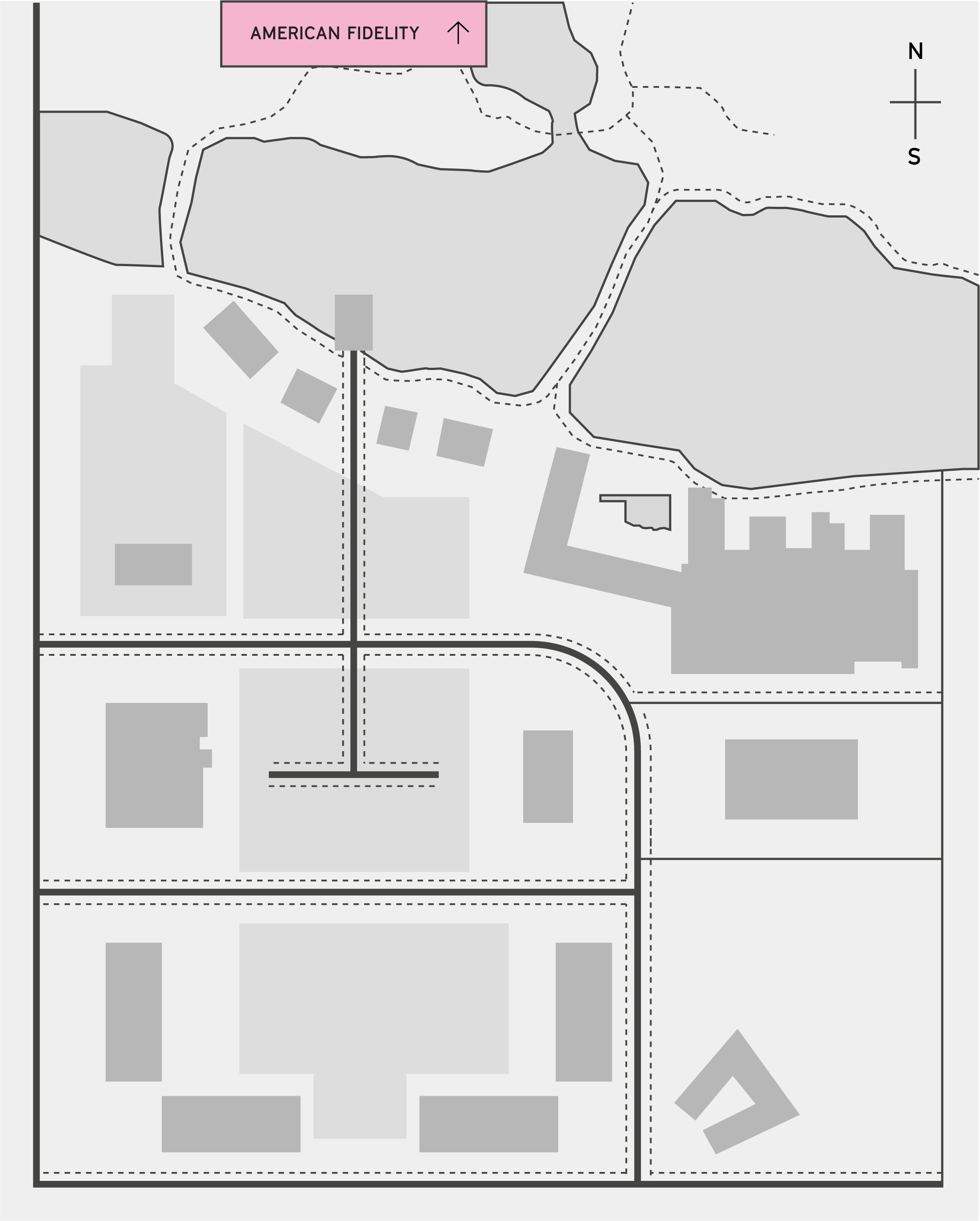 The half site map highlighting American Fidelity